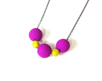 fuchsia and chartreuse necklace