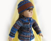 Doll Sweater and Hat for American Girl Doll 18 inch Knit Doll Sweater and Hat AmGirl Doll Sweater and Hat Blue, Brown, Grey Sweater and Hat