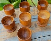 Set of 6 Vintage Monkey Pod Wood Egg Cups, Lathe Turned