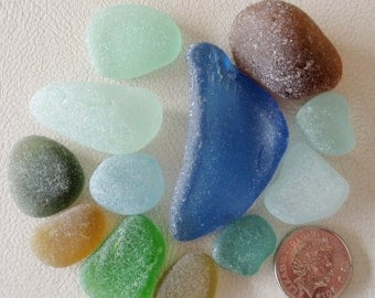 English sea glass big curved blue ,lime,green,seafoam,teal