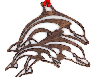 Wooden Jumping Dolphins Ornament