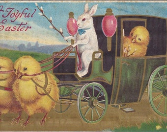 Easter Postcard Chicks pulling Carriage, Bunny Rabbit driver, Chick passenger  vintage Joyful Easter postcard, anthropomorphic