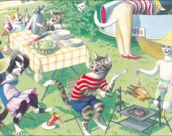Mainzer cats postcard Cook out  Mainzer dressed cats postcard No. 4890 vintage postcard, SharonFosterVintage