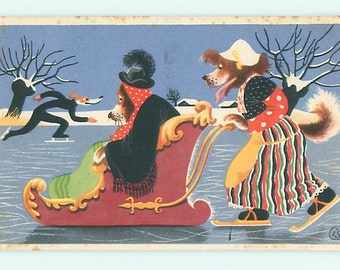 Dogs on ice, Dressed dog pushes another dog in sled on ice, dog skater vintage  postcard, funny humorous animals postcard