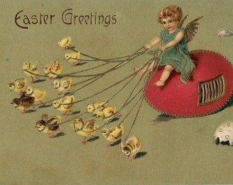Vintage Easter Postcard girl angel with chicks, egg house, Easter eggs, paper ephemera, Easter ephemera, vintage Easter, Easter card