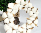 Cotton Wreath - Front Door Wreath - Cotton Boll Wreath - Home Decor - Farmhouse Decor - Small Cotton Wreath - Rustic Wreath - Rustic Decor
