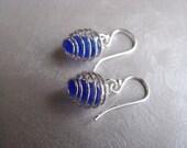 Caged Sea Glass Earrings - Cobalt Blue Beach Glass Earrings - Dangle Earrings