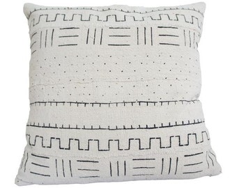 Vintage African White Mudcloth Pillow | NICOLETTE