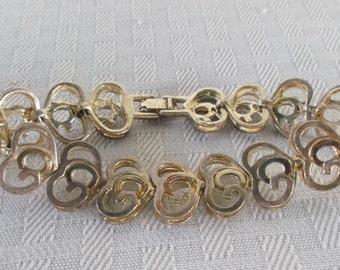 60s 70s Vintage St. John Stylized Heart Designer Bracelet