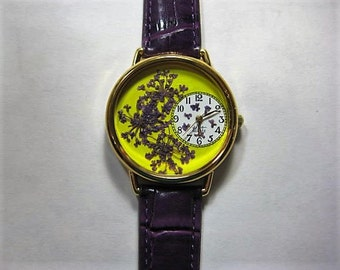 Women's Watch, Yellow Wrist Watch with Purple Queen Anne Lace and Leather Band, Watch for Woman, Pressed Flower Watch, Flower Watch