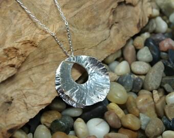 Fine Silver Fold Form Necklace Pendant