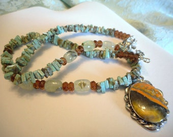 Bumble Bee Buzzz .. necklace, natural Bumble Bee Jasper, 'turquoise' magnasite, natural prehnite ... #682