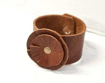 SALE, recycled brown leather flower cuff, bracelet, flower, handmade, stacylynnc, rivet, boho, leather flower, black leather, cuff, jewelry
