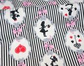 PRECUT Fabric Japanese cotton linen Fairy tales print Alice In Wonderland Half meter