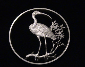 BEAUTY - Scarlet Ibis - cut coin pendant - STERLING - BRaND NeW!!