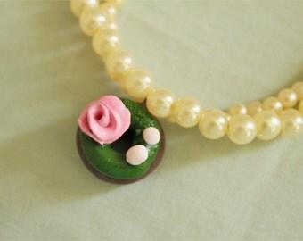 Garden Donut Lolita Bracelet - Beaded, Kawaii Charm Bracelet, Sweet Lolita, Sweets Deco, Fairy Kei, Harajuku Style, Polymer Clay Charm