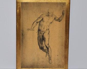 Vittorio Alinari Florentine Artwork after Michelangelo Sketches, Renaissance Motif