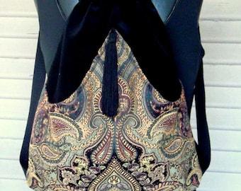 Gypsy Backpack Renaissance Backpack boho backpack boho slingbag black velvet bag backpacks boho cinch bag tapestry