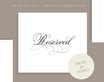 Printable Reserved Sign | Printable Reception Table Reserved Sign | Downloadable Reserved Seating | Marian Collection
