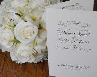 Formal Wedding Program Book, Folded Program, Elegant Wedding Program - Kathyrn and Kevin