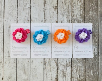 Set of 4 SMALL felt carnation flower clips on polka dot hair clips - fuchsia, turquoise, orange, purple clippie hairbow set - non slip grip