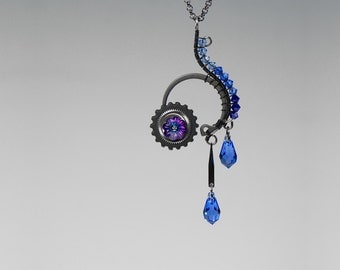 Steampunk Pendant with Blue Swarovski Crystals, Swarovski Necklace, Blue Crystal, Statement Jewelry, Gradient, Wire Wrapped, Hypnos v3
