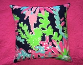 New Pillow Made with Lilly Pulitzer 2015 Sippin and Trippin by Garnet Hill fabric, 3 sizes available