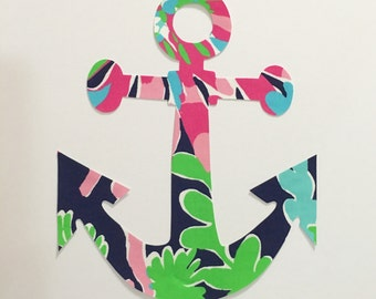New Made To Order Anchor Pillow made with Lilly Pulitzer Sippin and Trippin fabric