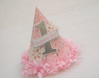 NEW Pink and Silver Polka Dot and Snowflake Birthday Party Hat - Princess Party, Winter Wonderland, Winter Onederland, Snowflake Birthday