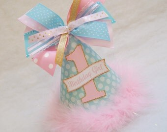 NEW!  Aqua, Pink, and Gold Birthday Party Hat - Polka dots, gold glitter