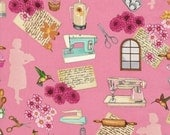 Clearance FABRIC HOME SWEET Home Homemaking on Pink