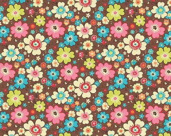 SALE!! Lightweight Knit Fabric ~ Brown Floral with Tiny Owls ~ Happy Flappers by Riley Blake ~