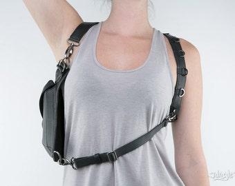 METRIC RAVEN Black Leather Holster Shoulder Backpack and Hip Bag