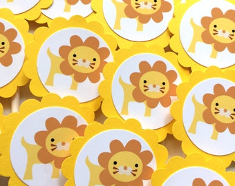 Lion Cupcake Toppers - Yellow, Set of 12