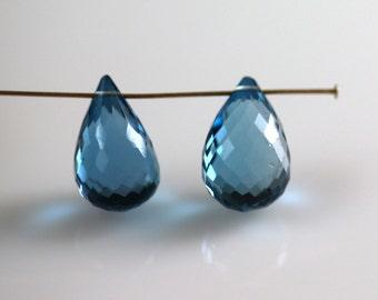 London Blue Topaz Beads - 11mm - London Blue Topaz - Teardrop Briolette Pair
