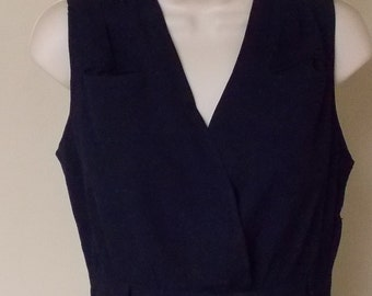 Vintage 30s/40s dark blue sleeveless dress open to waist