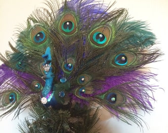 "16"" Jeweled Peacock Christmas Tree or Cake Topper with Ostrich Feathers"