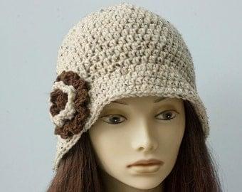 Flower Cloche Hat,  Flapper Hat, Bucket Hat,  Winter Hat, Ready to Ship Beige Brown, Woman's Hat, Crochet Hat,  1920's Style  Hat