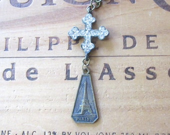 French Eiffel Tower and Rhinestone Cross Necklace