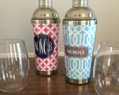 Personalized Monogrammed Cocktail Shaker- Preppy Gift - Stainless Steel - Martini