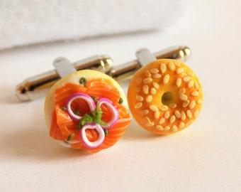 Mini Sesame Bagel Lox Cufflinks - Fast Food Cuff Links -  Miniature Food Art Jewelry Collectable - Schickie Mickie Original 100% Handmade