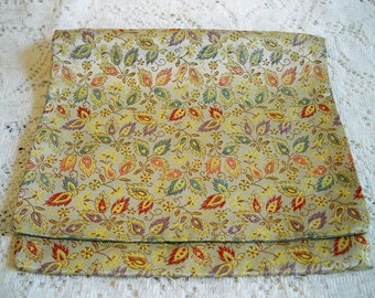Vintage Christian Dior Fern Tapestry Print Handkerchief Case Designer Hankie Holder Satin Lining