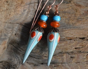 Turquoise, Ivory and Orange Lampwork Earrings