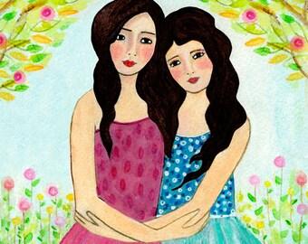 Sisters Art Print  - Best Friends - Two Black Hair Sisters Black Hair Best friends - Best Friend Sister Gift