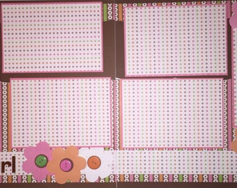 BABY GIRL 12 x 12 premade scrapbook layout - Girl Baby Girl