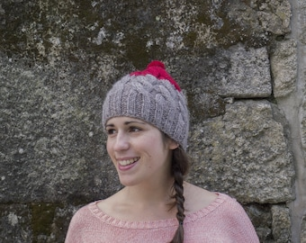 SALE! Handknitted Wool Beanie, Taupe and Red wool hat, Bobble Hat