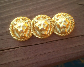 Versace Style Gold Tone Lion Head Brooch Pin