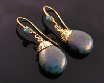 Wire Wrapped Large Blue Golden Czech Drop Earrings, Blue and Gold Earrings, Wire Wrapped Earrings with Czech Beads