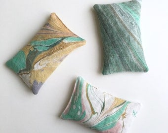 Mix and Match Marbled Sachet Set of 3 // Organic Lavender and Rose Scent // Natural Linen // Bridesmaid Gift for Mom