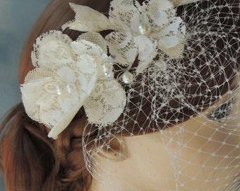"Lace Bridal Headpiece, 9"" birdcage veil,Bridal Hair Flower Comb, Wedding Flower Hair Comb, Bridal Hair Accessory, Wedding Hair Accessories"